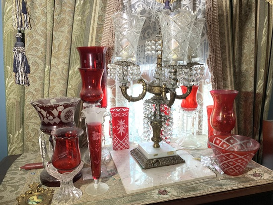 Hand Blown Crystal Candle Holders, Ruby Cut to Clear Glass, Italian Chandelier lamp etc
