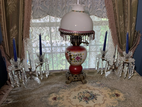 Gone with The Wind Style Lamp & Crystal Candle Holders