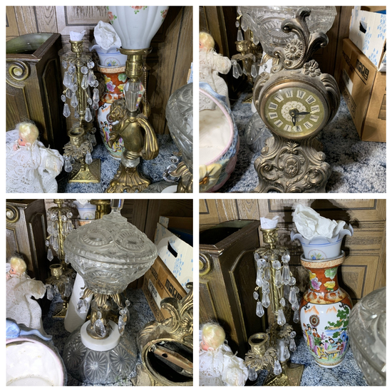 Battery Operated Clock, Willow Tree Figurine, Vintage Lamp, Vase & More
