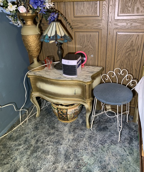 Side Stand, Vase with Floral Arrangement, Vanity Seat, Lamp & More
