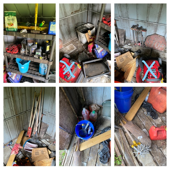 Shed contents not including push mower
