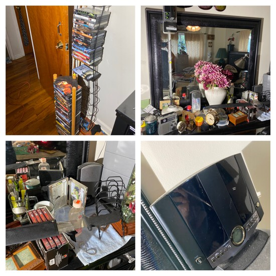 DVDs, Metal Detector, Items on, above and inside bureau lot