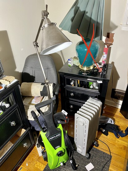 Pressure washer, lamp, chair, heater lot