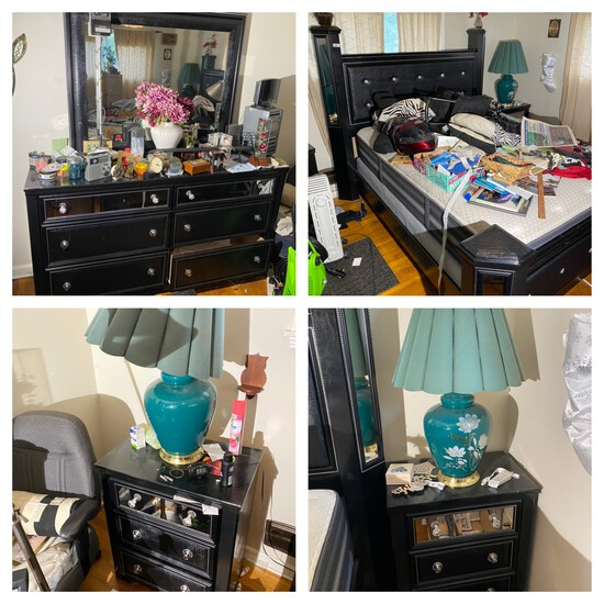 Black mirrored bedroom set