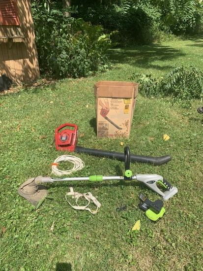 Group of Leaf Blowers, Electric String Trimmer & More