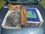 2 Pairs of Wadewell Waders Size 12 with Fishing Knife