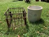 Metal Milk Crate & 4 Gallon Stoneware Crock.  See Photos for Damage