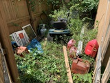 Cleanout by Shed - Gas Cans, Mower & More