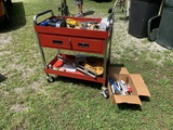 Multi-Purpose Service Cart with Locking Drawer & Contents.  See Photos.