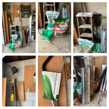 Garage Corner Clean out - Fertilizer, Ladder, Craftsman Work Lamp, Drain Auger & More