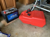 Boat Gas Tank & Deep Cycle Marine Battery.  Never Used.