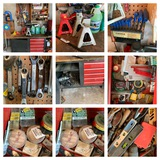 Work Bench & Contents, Jackstands, Manuals, Hand Tools & More