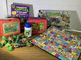 Great Group of Ninja Turtles Toys, Game, Lunch Box & More.  See Photos.
