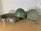 Army Helmet, Liner & Belt.  See Photos.