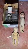 2 Vintage Dolls Mason Jars & More