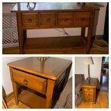 Hammary A La-Z-Boy Company Console Table, 2 Side Stands & Pair of Lamps. See Photos.