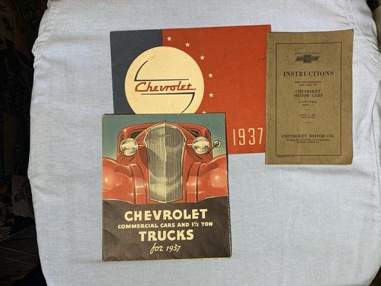Vintage 1937 Chevrolet Car Advertising Pamphlets  & 1927 Chevrolet Instructions for Operation Manual
