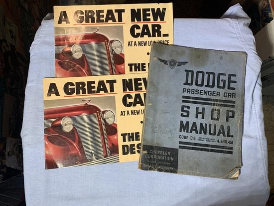 Early VIntage Dodge Passenger Car Shop Manual & 2 Vintage DeSoto Brochures