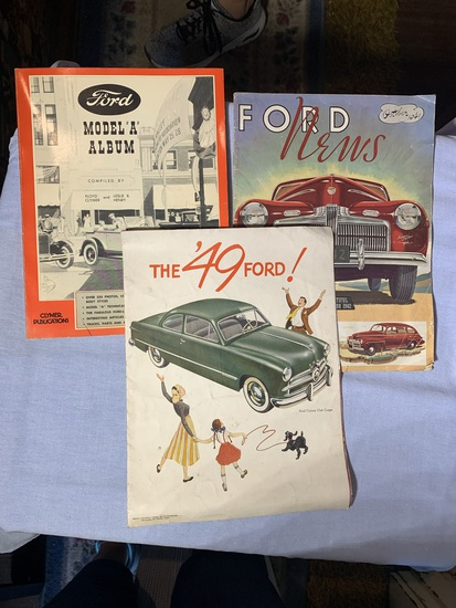 """Early Ford Model """"A"""" Album, 1949 Ford Brochure and Early Ford News Magazine"""