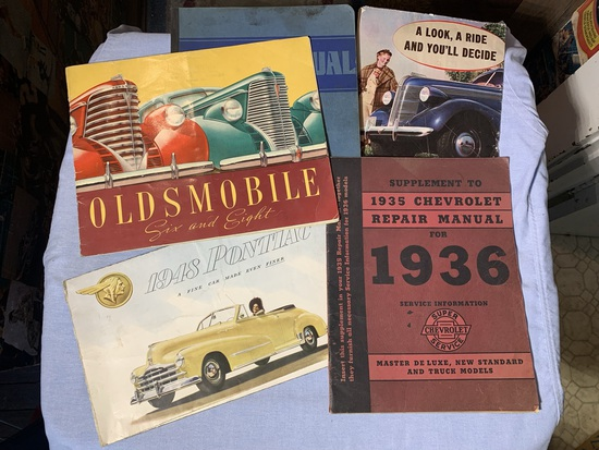 1935 Chevrolet Repair Manual for 1936 Service Information Book, Early Oldsmobile Brochure