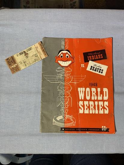 1948 World Series Cleveland Indians vs. Boston Braves Souvenir Program with Ticket