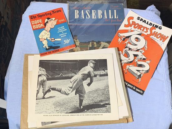 1952 Spalding Sports Show magazine, 1948 The Sporting News Dope Book,