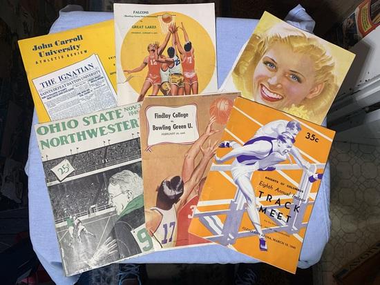 1948 Cleveland Arena Track Meet Brochure, 1946 Findlay College v Bowling Green Score Book