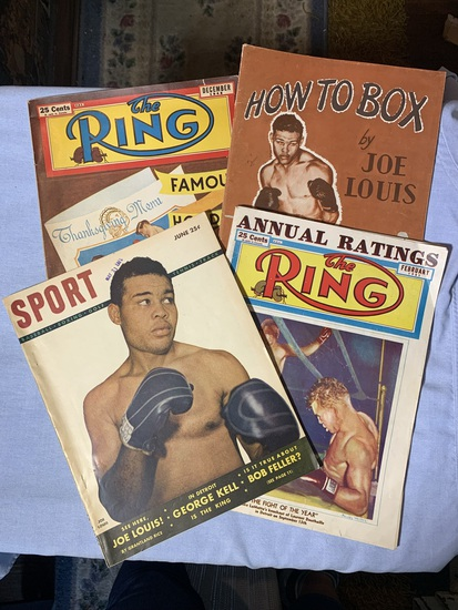 """Early Vintage Boxing Magazines """"The Ring"""" & Sport.  How To Box by Joe Louis"""