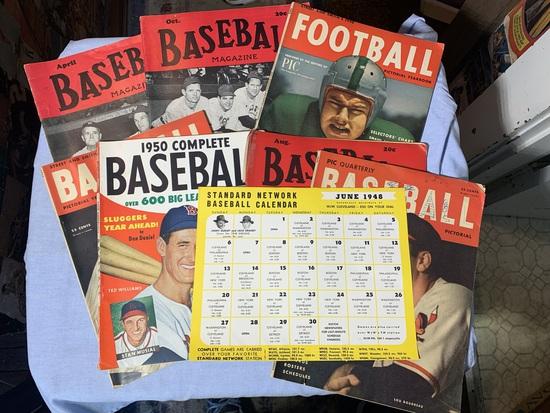 Group of Early Vintage Baseball Magazines, 1948 Standard Network Baseball Calendar