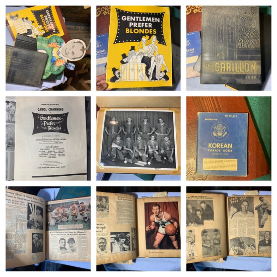 Sports Announcer Cut Out, Gentlemen Prefer Blondes,  1948 The Carillon Yearbook, Baseball Scrapbook