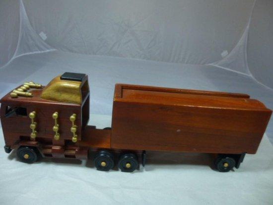 Wooden Semi Truck And Trailer Cigar Box