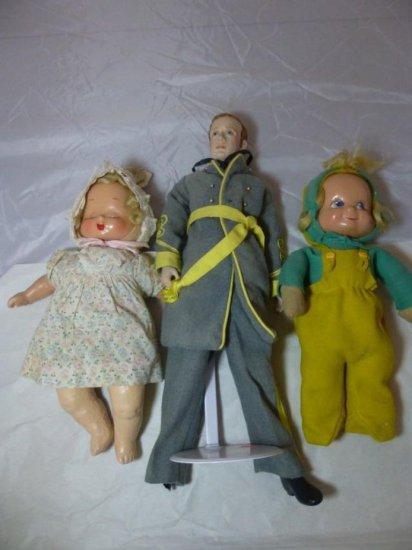 Group Lot Of 3 Vintage Dolls Including Civil War