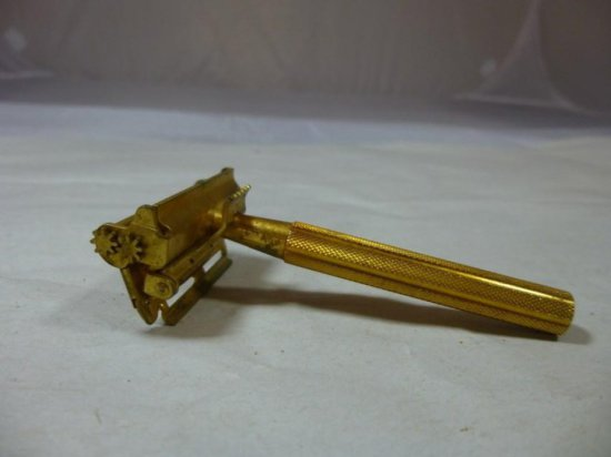 Unusual Vintage Safety Razor - Gold Tone