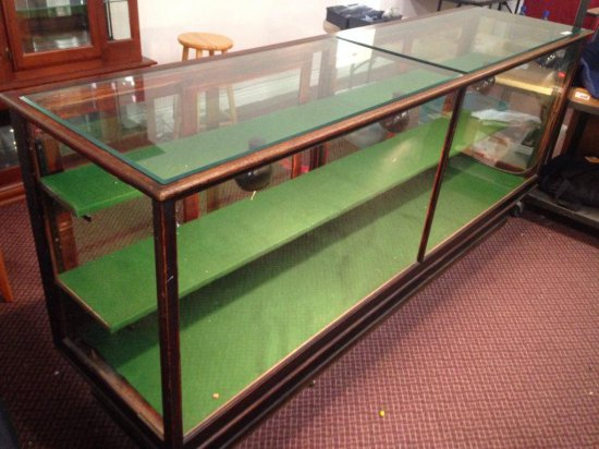 Large C. 1900 Lighted Glass And Oak Showcase