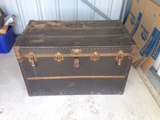 Large Old Antique Trunk With Insert.