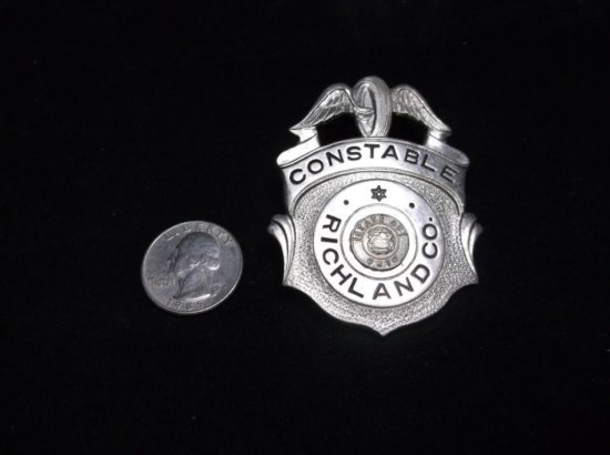 Antique Richland Co. Ohio Constable Badge W/winged Wheel