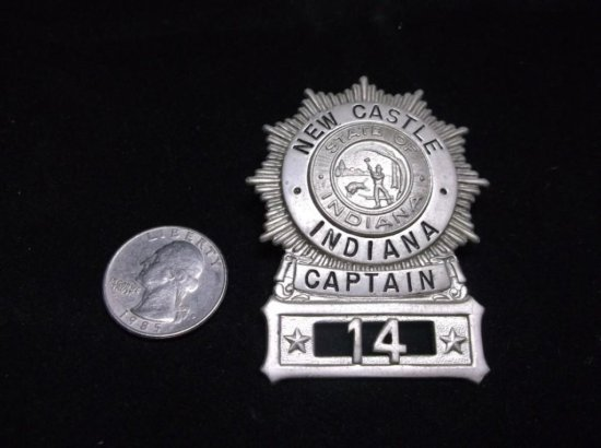 Antique New Castle Indiana Captain Police Badge