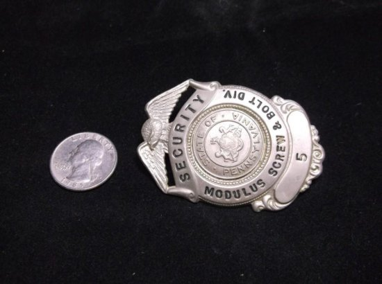 Vintage Modulus Screw & Bolt Security Guard Badge