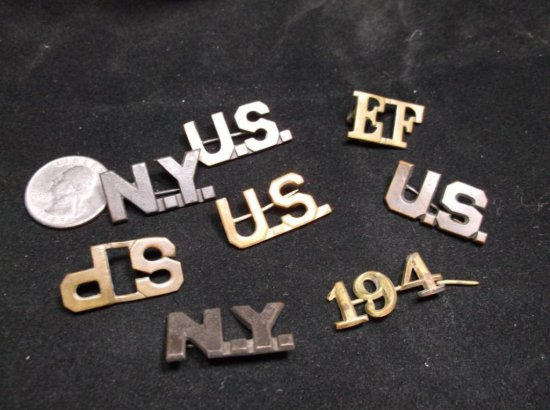 Group Lot Of Antique Military Collar Title Pins - Us, Sp, 194, Ny Etc