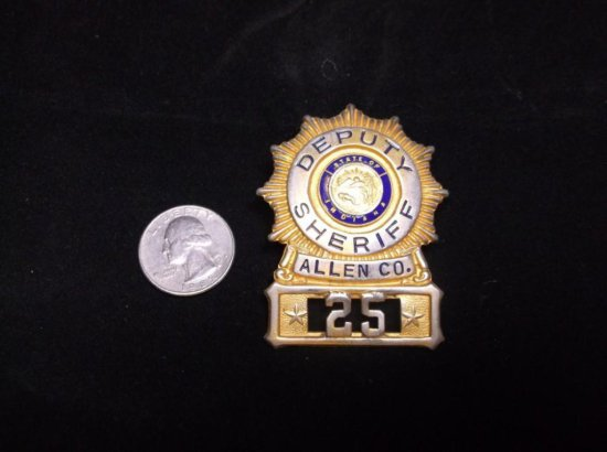 State Of Indiana Deputy Sheriff Allen Co. Vintage Police Badge