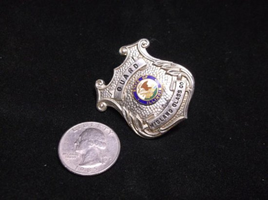 Vintage Illinois Midland Glass Co. Police Security Guard Badge