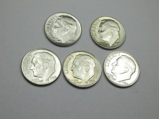 Group Of 5 Silver Roosevelt Dime Coins