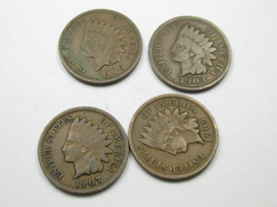 4 Nice Indian Head Cent Coins