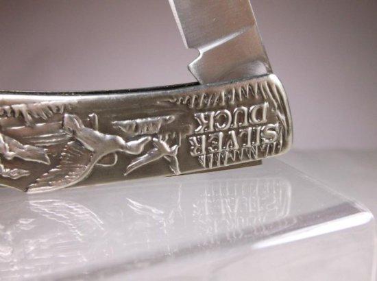 Vintage Silver Duck Hunting Scene Folding Knife