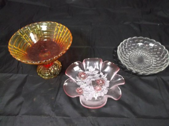Three Pieces Of Vintage Glass Including Amberina