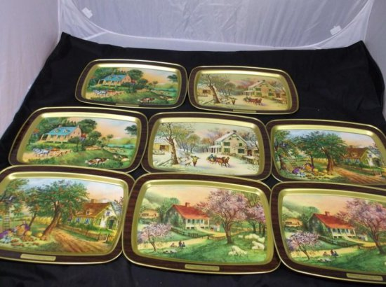 Group Of 8 Currier & Ives American Homestead Trays