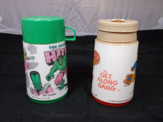 Two Vintage Lunch Box Thermoses Including Hulk, Get Along Gang