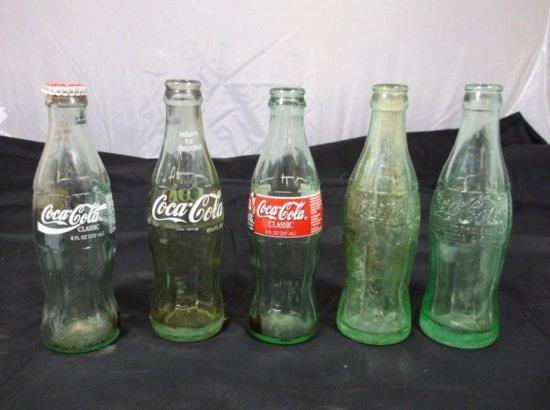 Group Lot Of 5 Vintage Coca-cola Bottles
