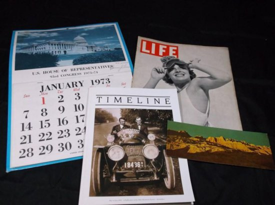 Group Lot Of Vintage Paper Inc. Life, Calendar, Firestone Etc.