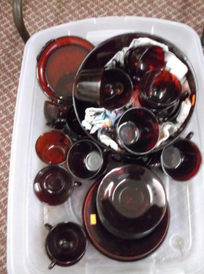 Large Group Lot Of Red Ruby Glass